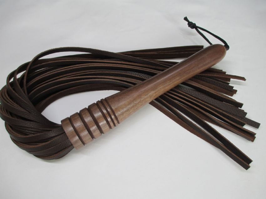 American Black Walnut Wood Handled, 6mm wide Falls Leather Flogger,